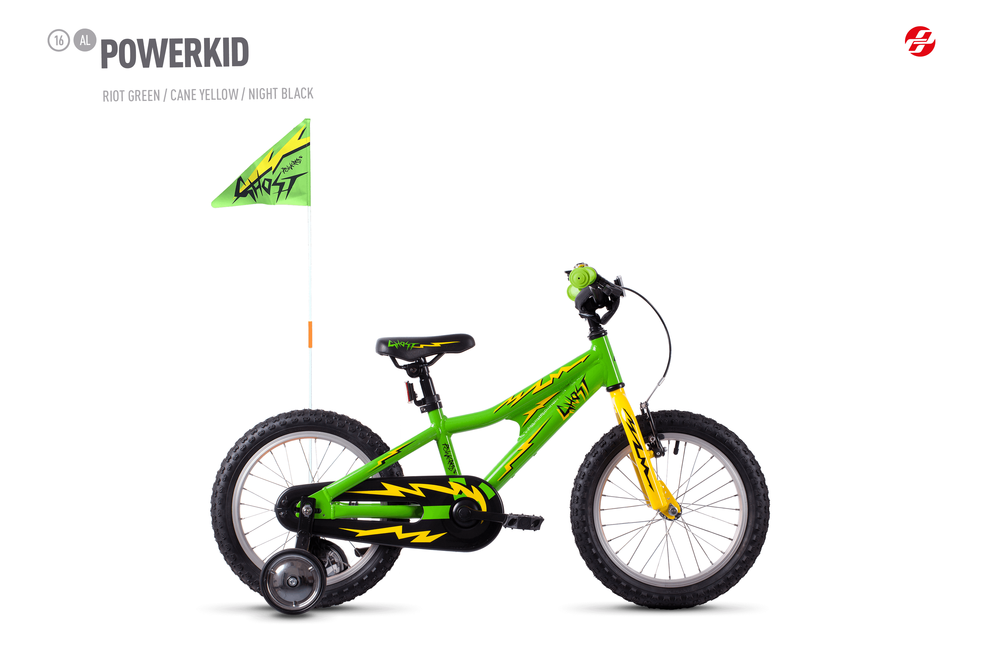 Bicykel Ghost Powerkid 16 green / yellow