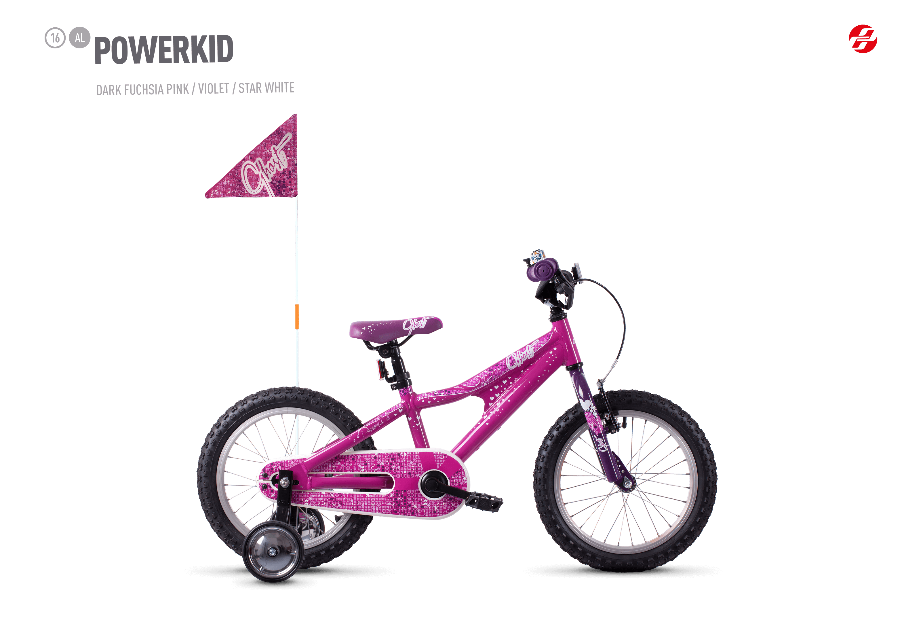 Bicykel Ghost Powerkid 16 pink / violet