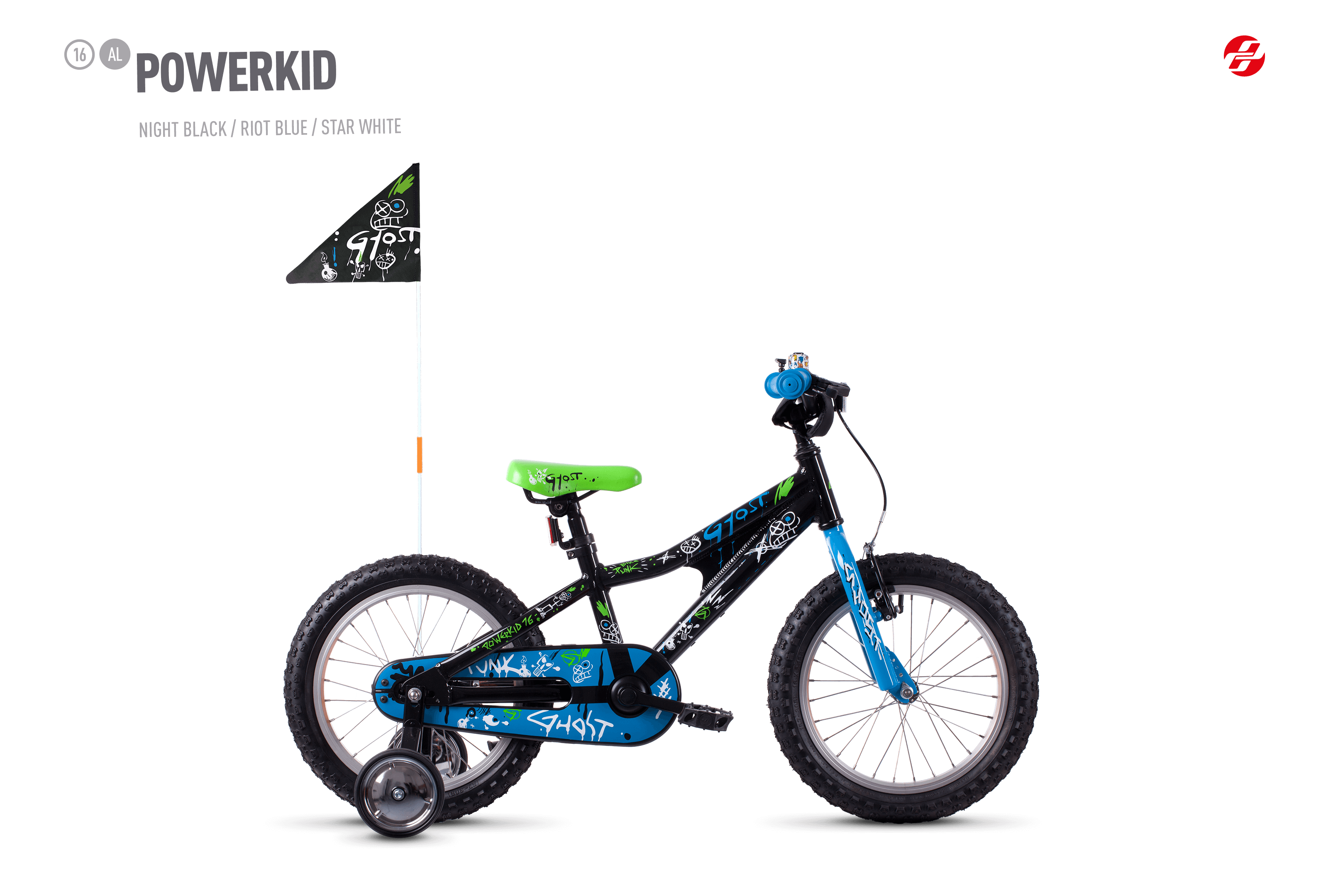 Bicykel Ghost Powerkid 16 black / blue